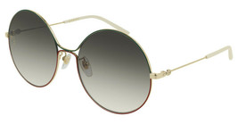 Gucci GG0395S-003 Green /Red /Gold Tone Metal Frame Brown Lens 58mm Sunglasses  - $234.22