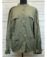 Charter Club Woman Lightweight Button Up Olive Jacket Coat With Pockets ... - $33.33
