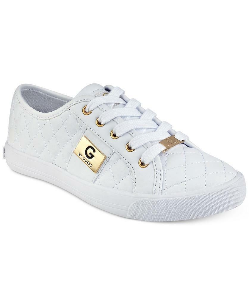 G by Guess Women's Backer2 Lace Up Leather Quilted Pattern Sneakers Shoes White