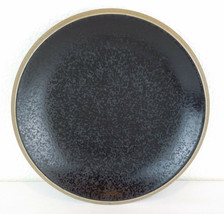 "Dansk Santiago Black 8"" Salad Luncheon Plate Stoneware China Tan Rim EUC - $5.98"