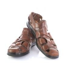 Cole Haan Brown Leather Closed Toe Fisherman Sandals Slip On Casual Shoes Men 10 - $34.53