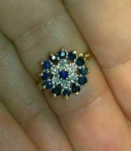 14k Gold Finish 2 CT Round Cut Blue Sapphire & Diamond Cluster Wedding Ring - $76.91