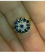 14k Gold Finish 2 CT Round Cut Blue Sapphire & Diamond Cluster Wedding Ring - $76.91
