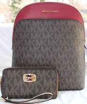 NWT MICHAEL MICHAEL KORS EMMY SIGNATURE PVC / LEATHER BACKPACK & WALLET - $242.55