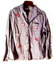 Victoria Jones Black & White Gingham Shirt Casino Cards & Dice Shirt Sz ... - $23.74