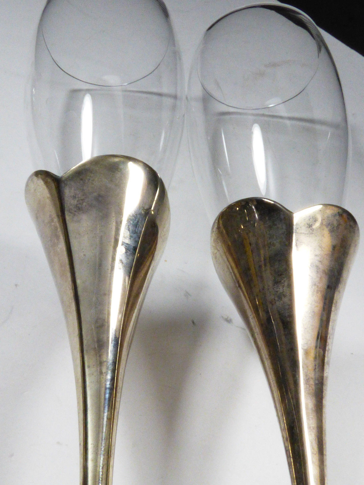 2 LENOX Crystal Champagne Flute Wedding Anniversary Silverplate Stems Heart image 6
