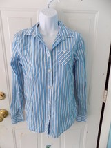 American Eagle Outfitters Favorite Fit Blue/White Shirt Size S Women's EUC - $18.72