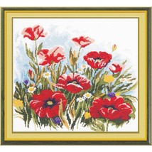 Cross Stitch Kit Hand Embroidery Flowers Red Poppies - $31.00