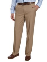 IZOD Men's Straight Fit, Flat Front Dress Pant  Khaki