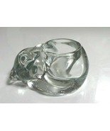 Vtg Indiana Glass Clear Heavy Sleeping KITTY CAT Tealight Votive Candle Holder  - $7.43