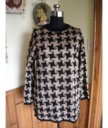 Womens Sweater Houndstooth Black Gold Metallic (L) By Sheridan Square Go... - $18.00