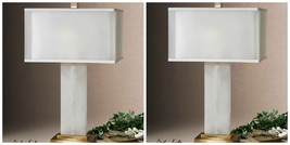 "PAIR URBAN MODERN 29"" ALABASTER TABLE LAMP COFFEE BRONZE METAL WHITE SHADE - $690.80"