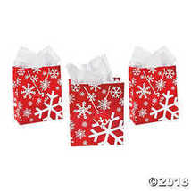 Medium Red & White Snowflake Gift Bags  - $10.24
