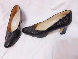 ETIENNE AIGNER Taylor Womens Chunky Mid Heel Pumps Classics Shoes 8M Black Spain - $27.00