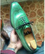 Handmade Men's Green Wingtip Leather Brogue Shoes, Custom Made Formal Shoes - $179.99+