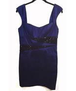 Arden B Sequined Dress Size Large Blue Black Sleeveless Lined Bodycon Shiny - $29.69