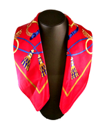 St. Germain 100% Mulberry Silk Charmeuse Scarf Red Equestrian FREE SCARF... - $28.00