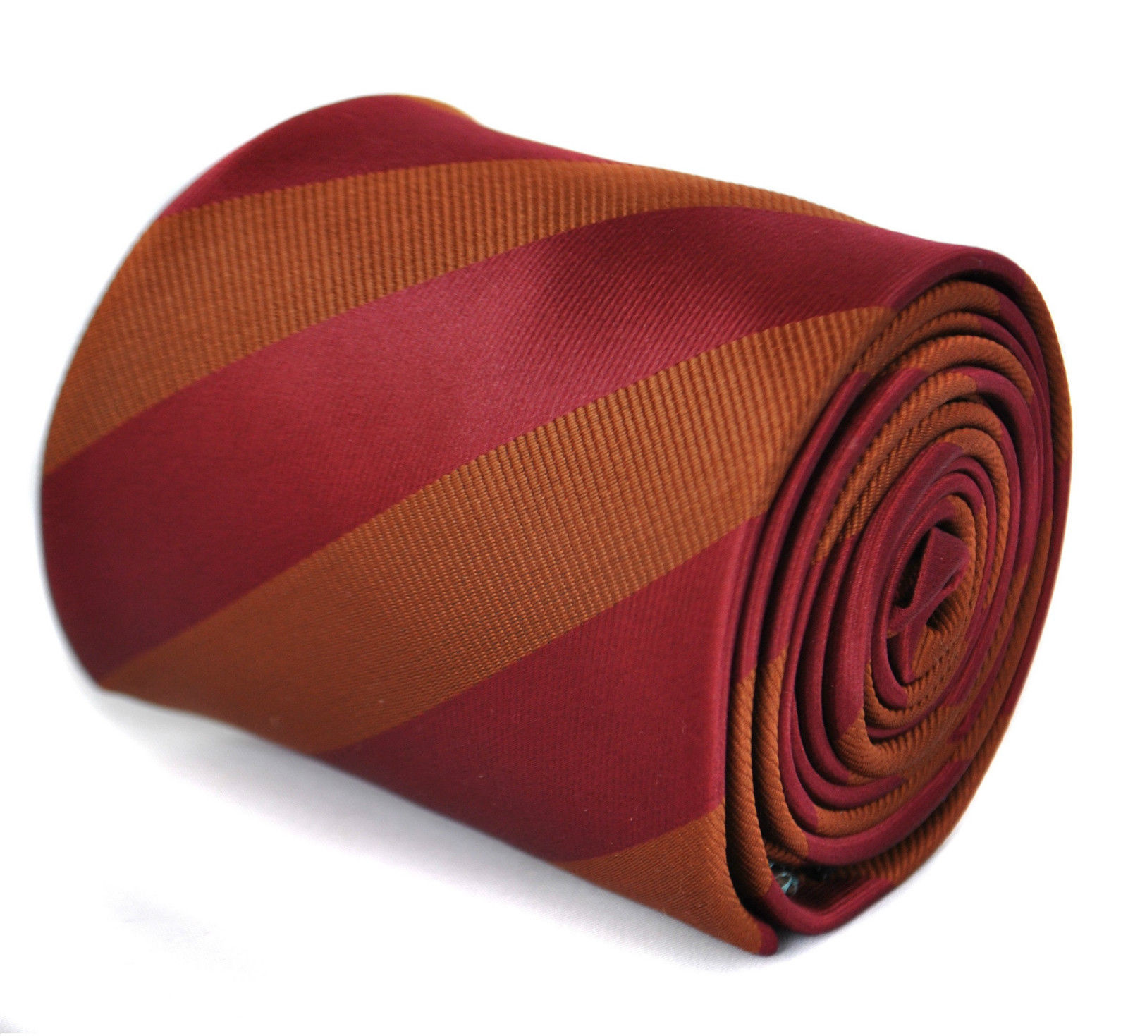 Frederick Thomas chocolate brown & maroon barber stripe mens wedding tie FT1876
