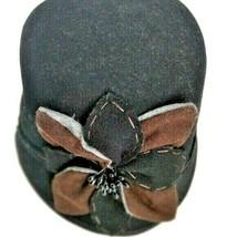 Scala Pronto Retro 1930's 100% Wool Black Cloche Flapper Hat Floral Cors... - $17.59