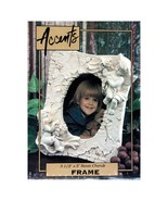 """ACCENTS* 5"""" x 7"""" PICTURE FRAME Off-White RESIN CHERUB For 3.5"""" x 5"""" Phot... - $14.84"""