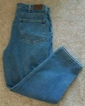 LL Bean Natural Fit Mens 38x29 Flannel Lined Blue Denim Jeans Relaxed Lo... - $23.28