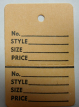 Ivory BUFF Tan 2 part Merchandise Garment Sale Price Tags Unstrung 1-1/4... - $16.89