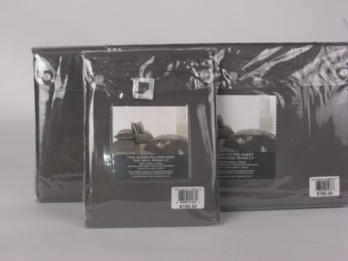 Vera Wang CHARCOAL FLOWER 4 Piece Queen Sheet Set NIP