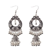 Antique Ethnic Silver Alloy Indian Jhumka Small Bells Tassel Drop Earri... - $8.50