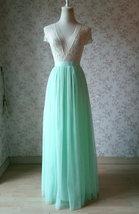 MINT GREEN Full Tulle Skirt Women High Waist Green Wedding Tulle Skirt Plus Size image 1