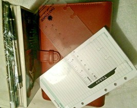 Genuine Real Leather organiser notebook & UNDATED Filofax personal size ... - $4.46+