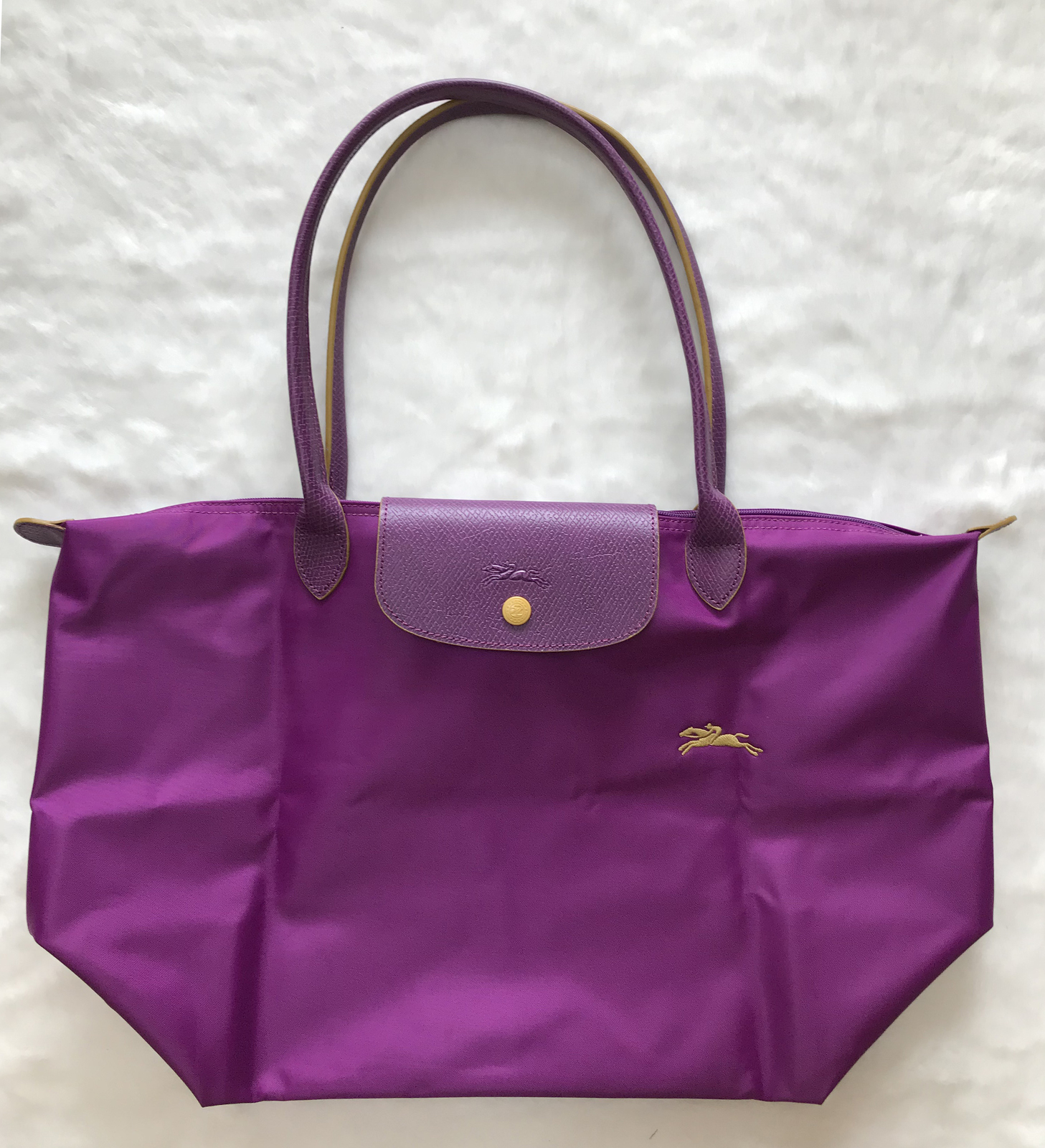 France Longchamp Le Pliage Club Collection Horse Embroidery Large Tote Violet