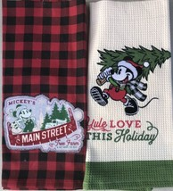 Disney Parks Mickey Mouse Yuletide Farmhouse Holiday Kitchen Towel Set With Tags - $24.95