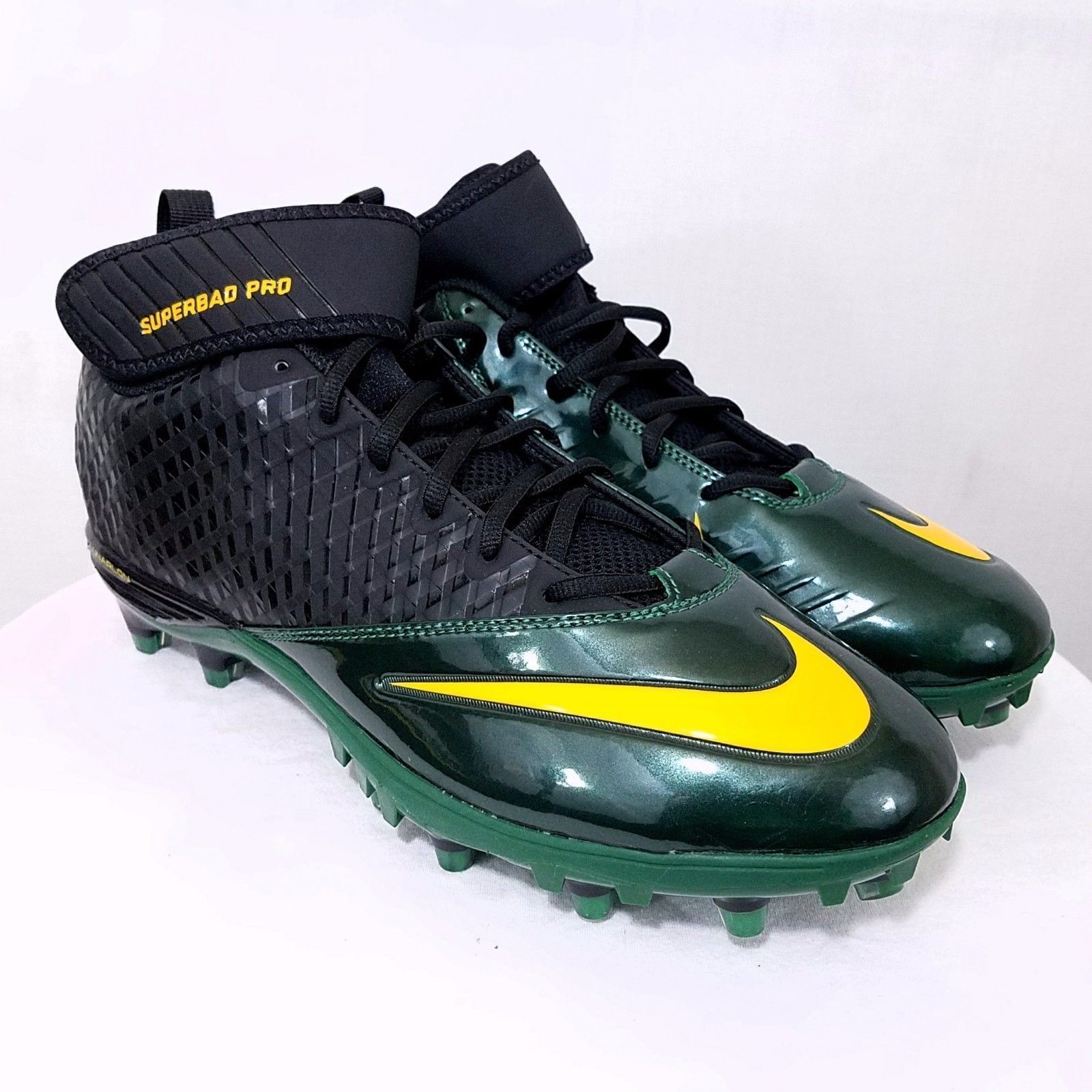 competitive price 6fbc0 68fd6 Nike Lunar Super Bad Pro Football Cleats 15 Green Yellow Black NEW