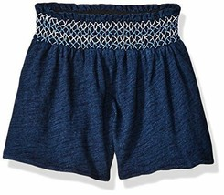 Flapdoodles Baby Girls' Soft Knit Cotton Shorts Navy Blue Embroidered Wa... - $12.35