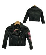 Art class youth girls motorcycle jacket zip front black embroidery size S - $19.48