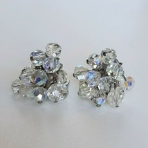 Vintage Sparkling Faux Clear Crystal Cluster Dangling Movement Clip On Earrings - $18.70