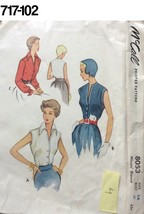Vintage Sewing Pattern McCalls #8053 1950 Blouse Pattern Complete - $14.51