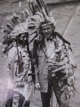 Vintage Black & White Real Photo Native Indian Full Dressed with Headdress - $7.66