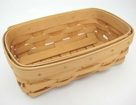 "Longaberger Basket Rectangular 7.5"" x 5"" x 2.5"" Signed Dated 2001 Excellent - $12.86"