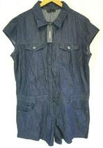 NWT DIESEL Women's Blue R-SADE Drawstring Waist Cotton Denim Jean Romper XL - $39.55