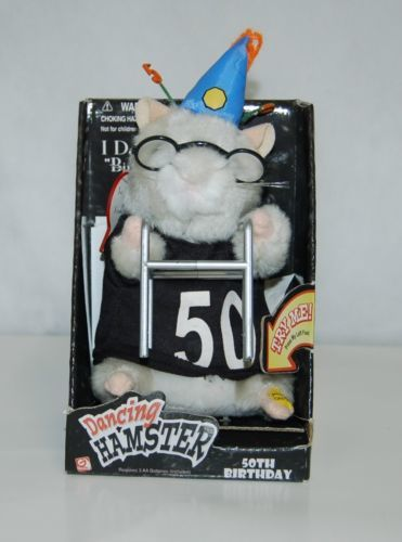 Gemmy  30975 Dancing Hamster Dances to Birthday Song 50th Has Walker