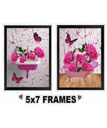 5x7 Bathroom Daisy Pictures Pink Sink Bath Tub Butterflies Wall Hangings - $8.99+
