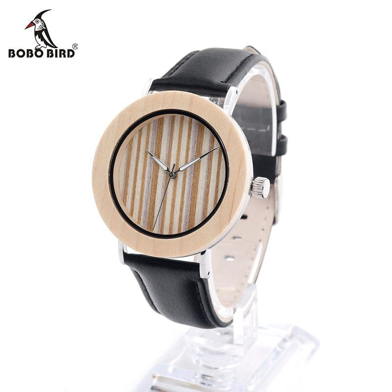 Primary image for BOBO® Bamboo Wood Stainless Steel Wristwatch Mens Black Leather Causal Quartz