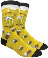 Mens Novelty Socks Don't Worry Beer Hoppy Yellow Fine Fit - NWT - $4.94