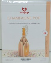 Lovepop LP1935 Champagne Pop Up Card Green Envelope Paper Cellophane Wrapped image 2