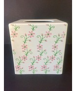 Vintage I W Rice Tissue Box Cover Hand Painted Flowers Metal Japan - $17.59