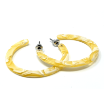 Fashion Yellow Marbled Resin Circle Hoop Earrings For Women - $13.35