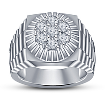Round Cut CZ Men's Band Ring 14k White Gold Finish 925 Pure Silver Free ... - $79.99