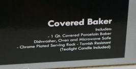 Godinger 6322 Siena One Quart Covered Porcelain Baker With Serving Rack image 11