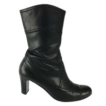 Paul Green Women's UK 5 US 7 Black Leather Boots Mid-Calf Brogue Perforated - $67.31